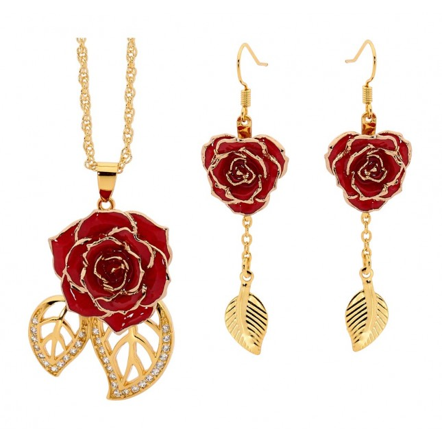 Red Leaf Theme Pendant and Earring Set