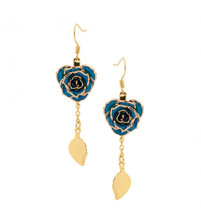 Blue Glazed Rose Earrings in 24K Gold Leaf Style