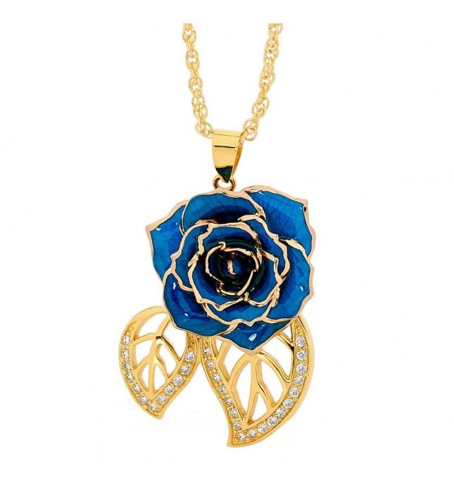 Blue Glazed Rose Pendant in 24K Gold Leaf Theme