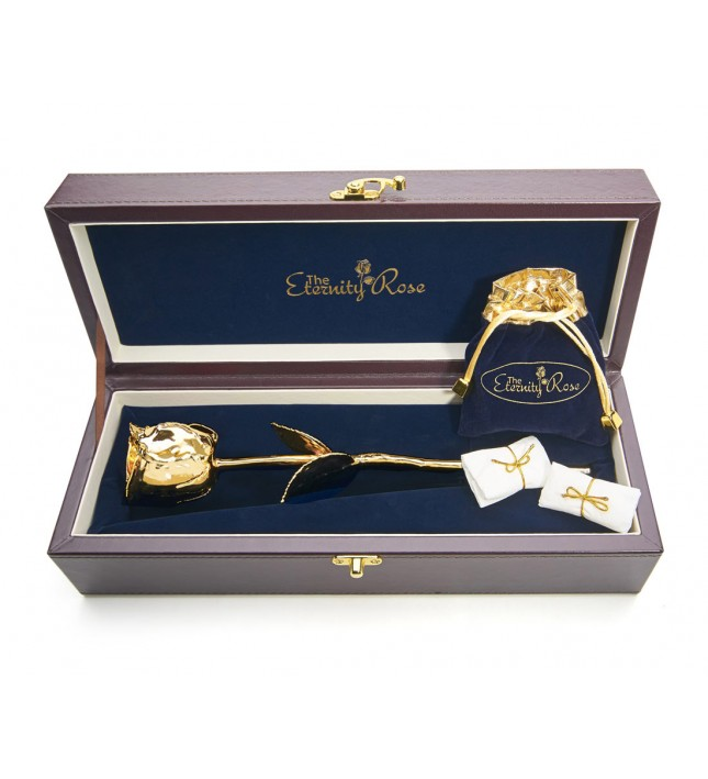 Gold-Dipped Rose & White Leaf Theme Jewellery Set