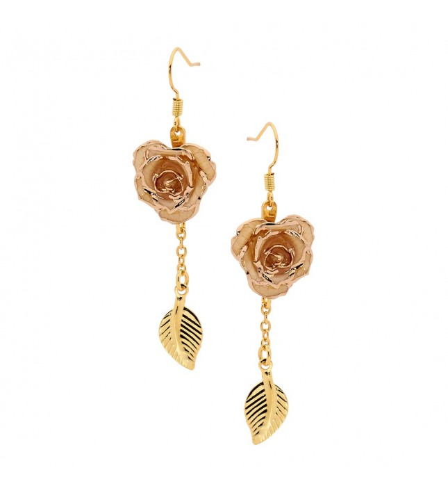 White Glazed Rose Earrings in 24K Gold Leaf Style