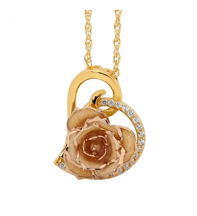 White Glazed Rose Heart Pendant 24K Gold