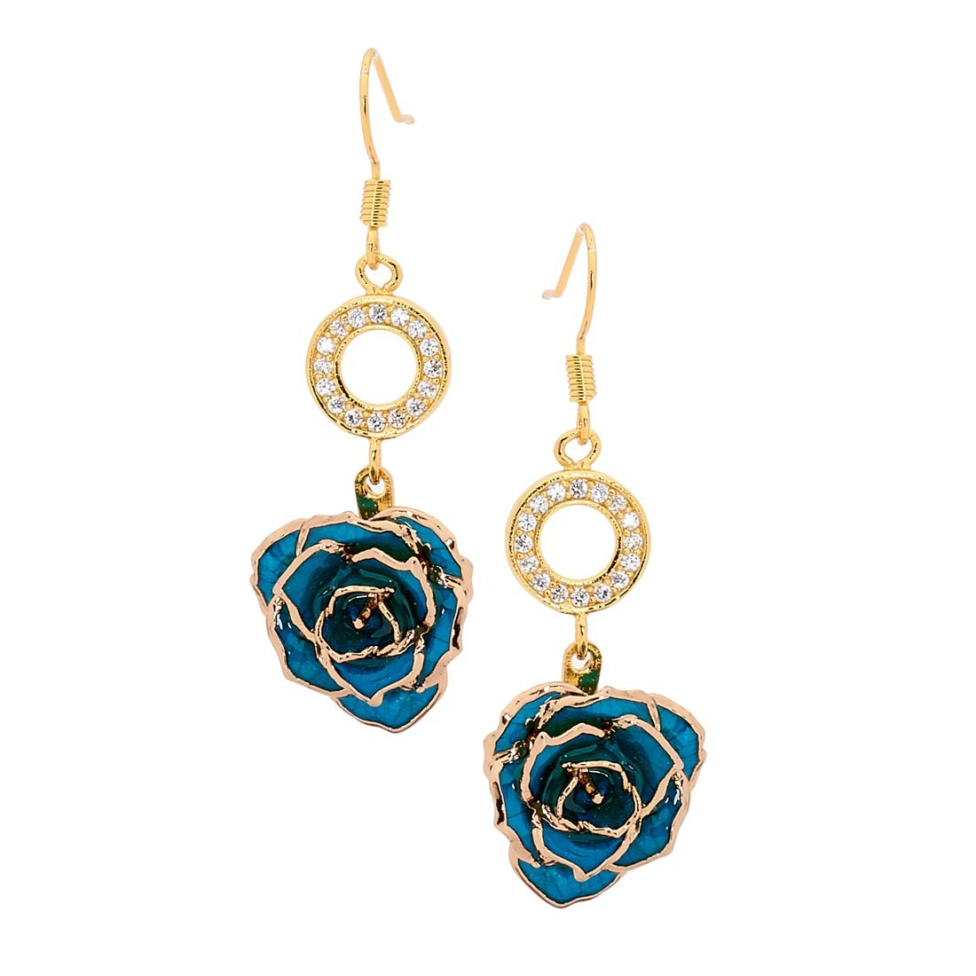 281f4dcc535df Blue Glazed Rose Earrings in 24K Gold
