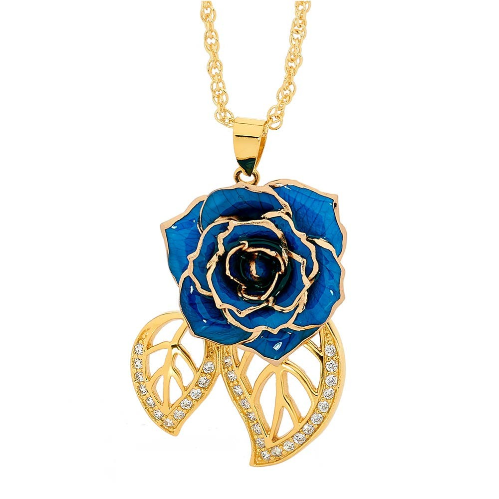 Blue glazed rose pendant in leaf theme 24k gold blue glazed rose pendant in 24k gold leaf theme aloadofball Image collections