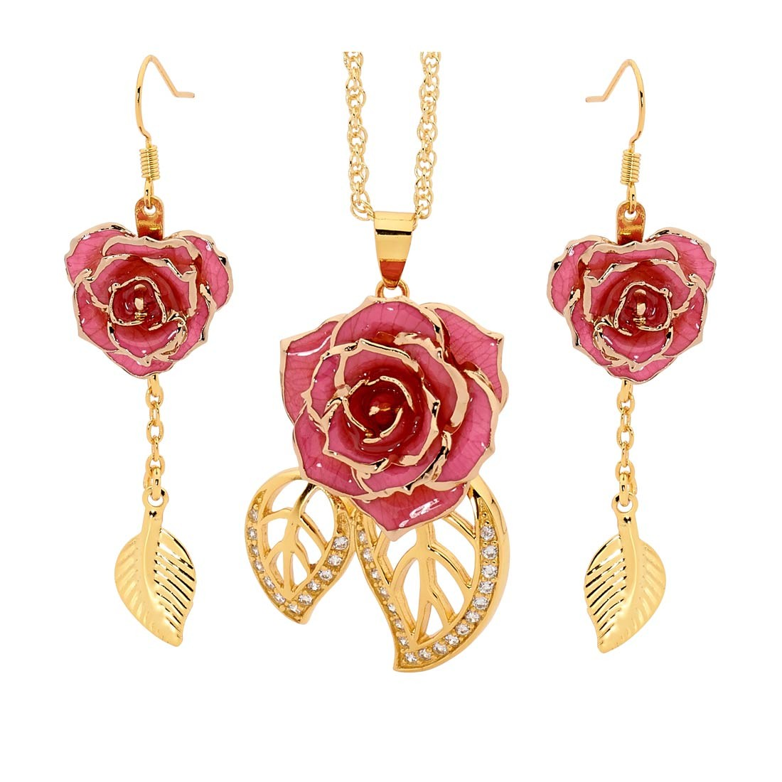 Gold Dipped Rose Amp Pink Matched Jewellery Set In Leaf Theme