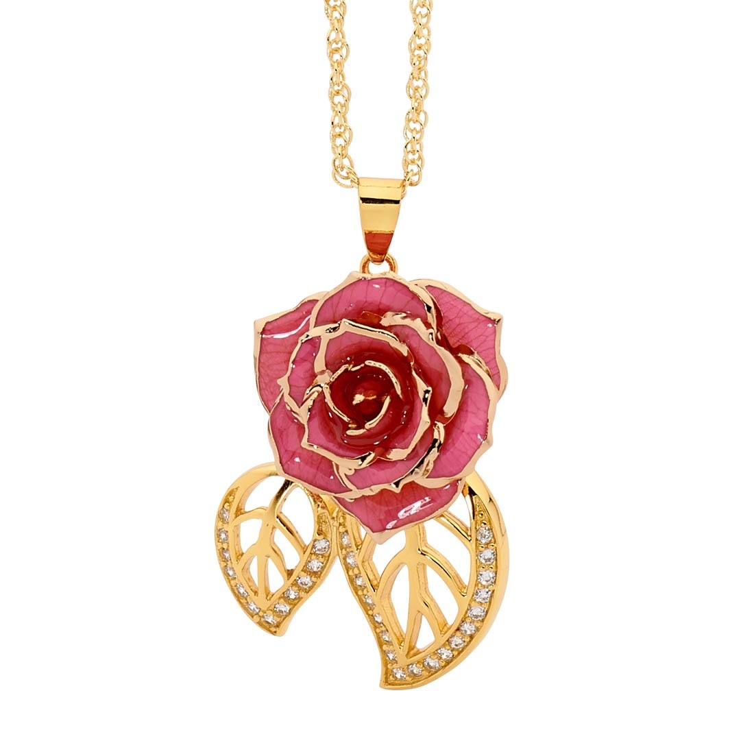 Pink Glazed Rose Pendant in Leaf Theme 24K Gold