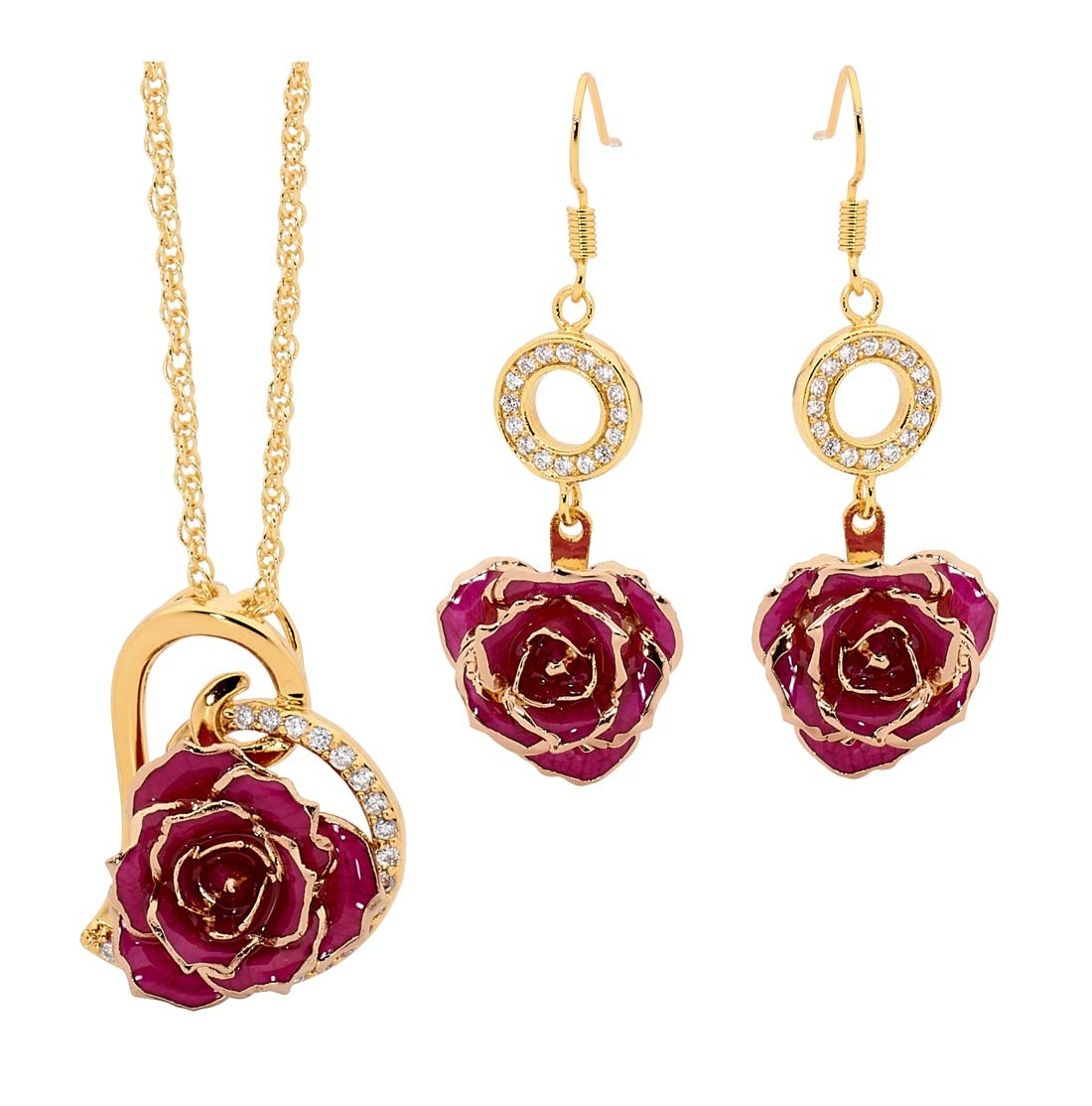 Purple Matching Pendant and Earring Set - Heart Theme 24K Gold a4bee186d0