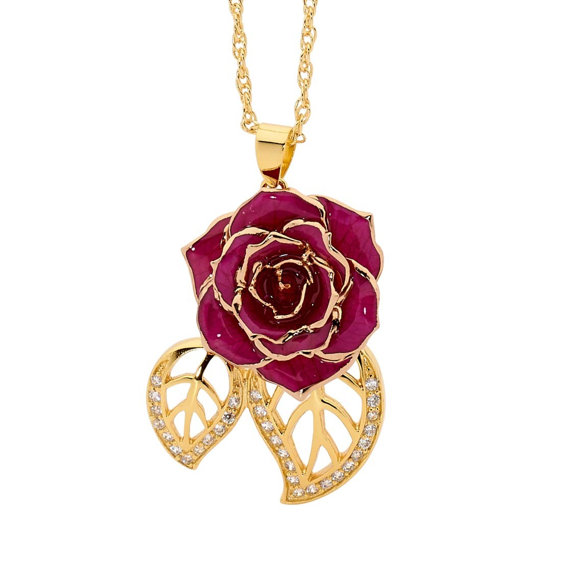 Purple Glazed Rose Pendant in Leaf Theme 24K Gold
