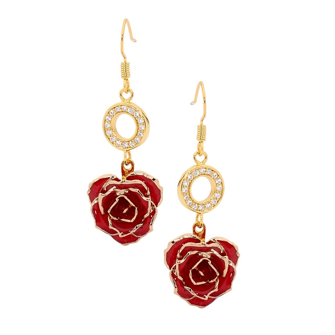 red earring stones plated flower pave earrings with metal swarovski gold