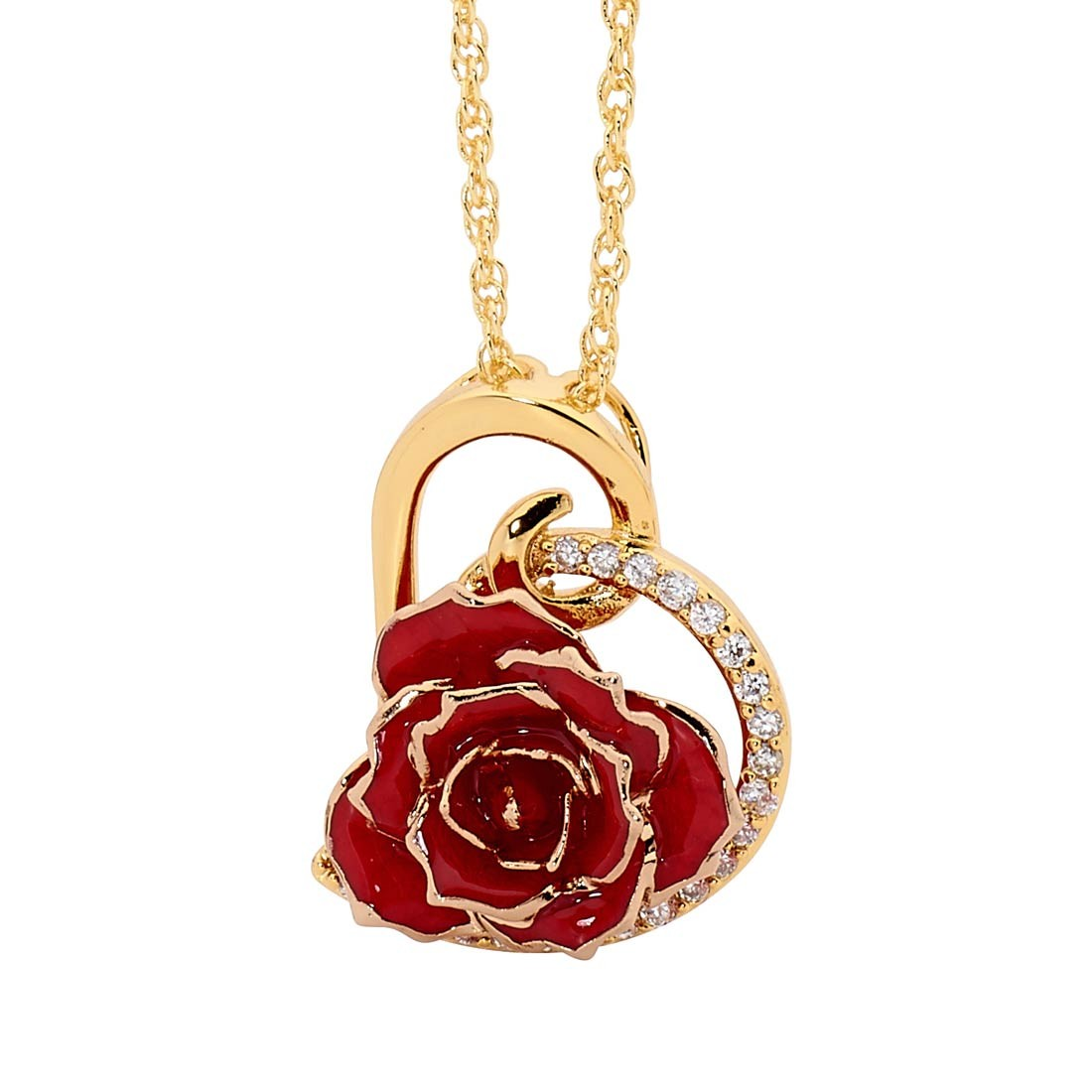 Gold Dipped Rose Amp Red Matched Jewellery Set In Heart Theme