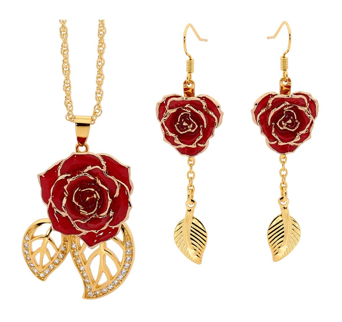 Red Matching Pendant And Earring Set Leaf Theme 24k Gold