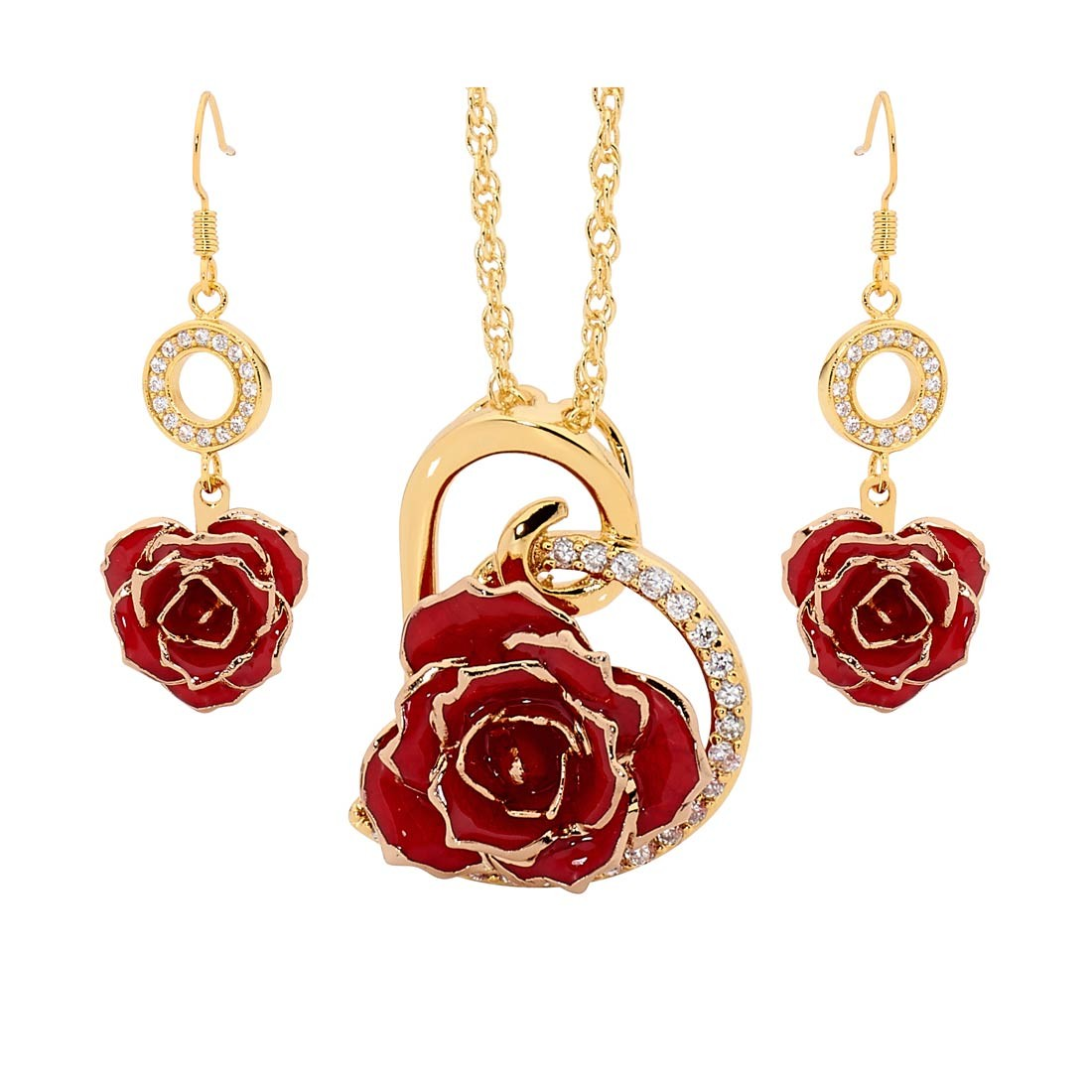 red matching pendant and earring set heart theme 24k gold. Black Bedroom Furniture Sets. Home Design Ideas