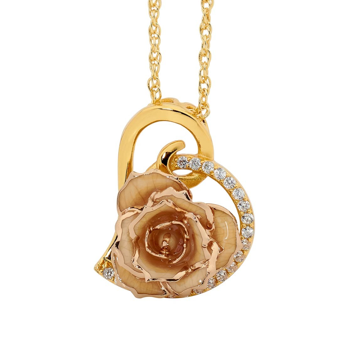 Glazed rose heart pendant 24k gold white glazed rose heart pendant 24k gold aloadofball Image collections