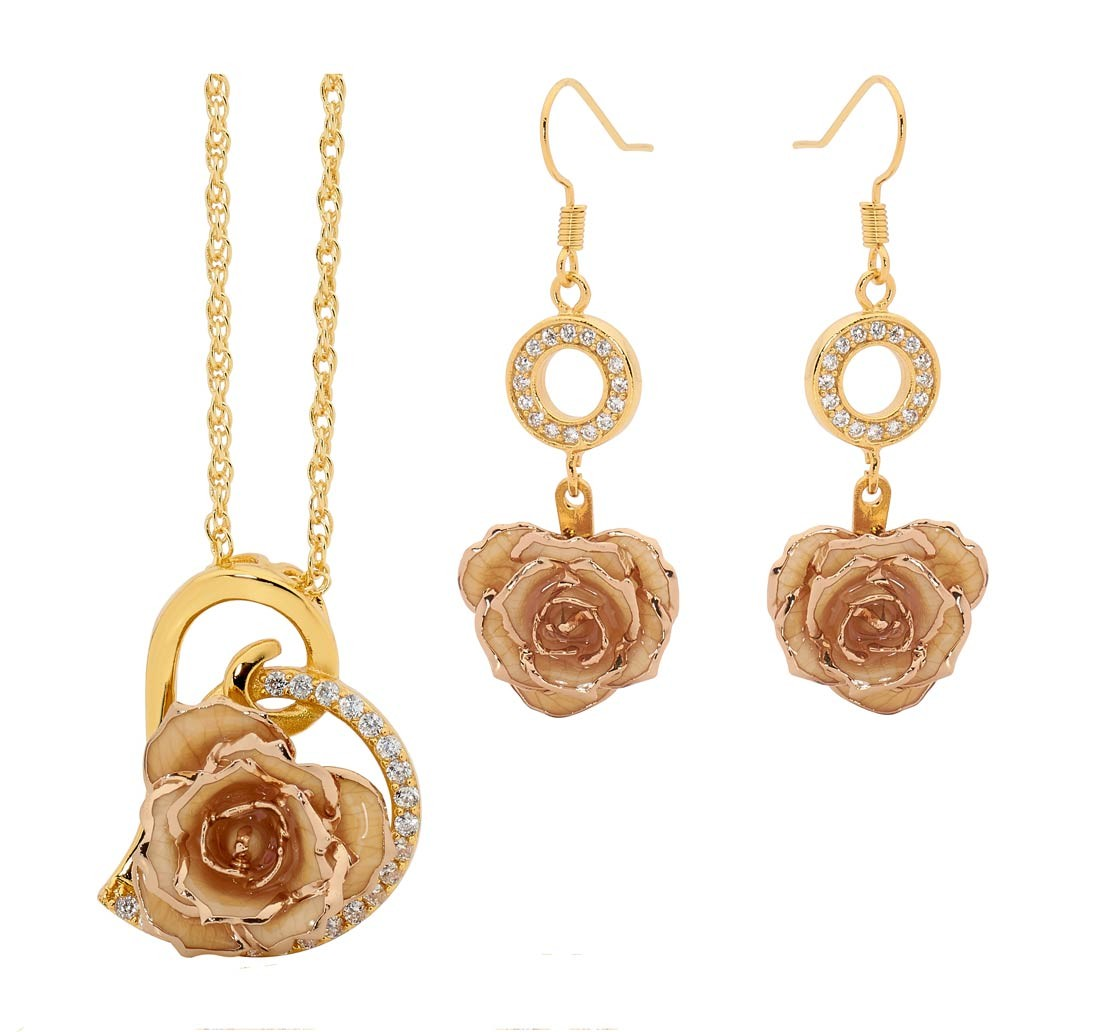 gold dipped rose white matched jewellery set in heart theme. Black Bedroom Furniture Sets. Home Design Ideas