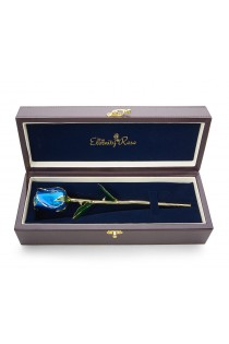 Blue Tight Bud Glazed Rose Trimmed with 24K Gold