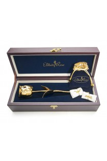 Gold-Dipped Rose & Blue Leaf Theme Jewellery Set
