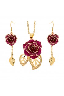 Gold-Dipped Rose & Purple Leaf Theme Jewellery Set