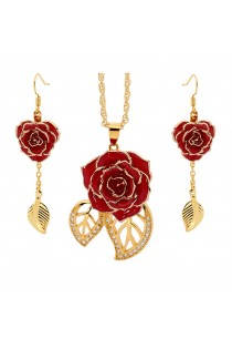 Gold-Dipped Rose & Red Leaf Theme Jewellery Set