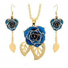 Gold-Dipped Rose & Blue Matched Jewellery Set in Leaf Theme