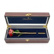 Red Open Bud Glazed Rose. Gloss Woodgrain Case
