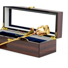 Gold-Dipped Natural Rose. Woodgrain Window Box