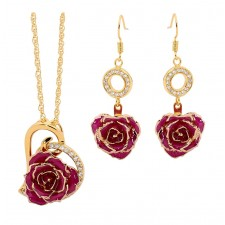 Purple Matching Pendant and Earring Set - Heart Theme 24K Gold