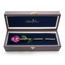 Purple Tight Bud Glazed Rose Trimmed with 24K Gold