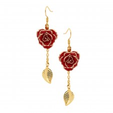 Red Glazed Rose Earrings in 24K Gold Leaf Style