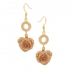 White Glazed Rose Earrings in 24K Gold