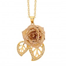White Glazed Rose Pendant in 24K Gold Leaf Theme