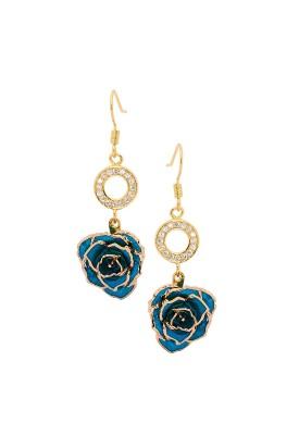 Blue Glazed Rose Earrings in 24K Gold