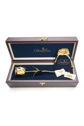Gold-Dipped Rose & White Matched Jewellery Set in Leaf Theme