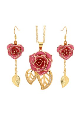 Gold-Dipped Rose & Pink Leaf Theme Jewellery Set
