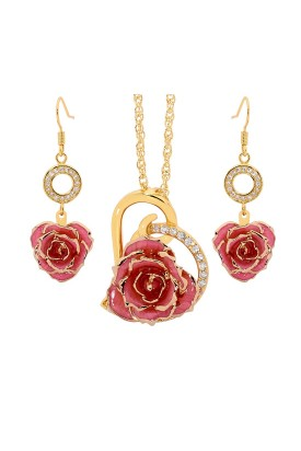 Gold-Dipped Rose & Pink Heart Theme Jewellery Set