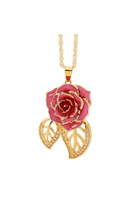 Pink Glazed Rose Pendant in 24K Gold Leaf Theme