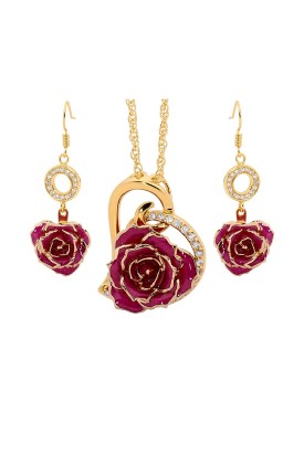 Purple Matched Set in 24k Gold Heart Theme. Rose, Pendant & Earrings
