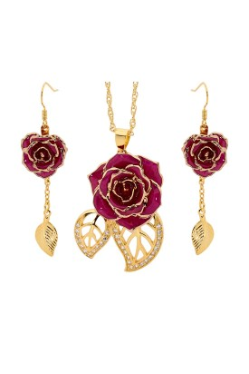 Gold-Dipped Rose & Purple Leaf Theme Jewellery Set