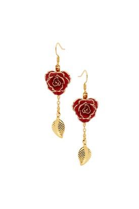 Red Glazed Rose Earrings in 24K Gold Leaf Style