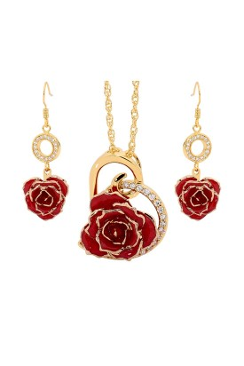 Gold-Dipped Rose & Red Heart Theme Jewellery Set