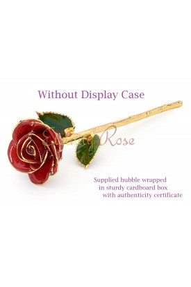 Red Glazed Natural Rose Without Display Case