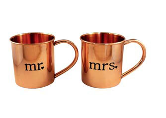 Copper his and hers mugs