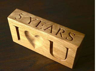 Wooden block for 5th wedding anniversary